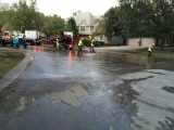 Cleanup after a day of drilling in a residential neighborhood in Houston, TX